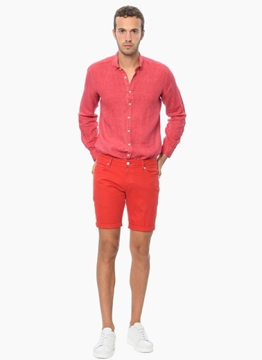 Que Uzun Kollu Keten Gömlek Kırmızı